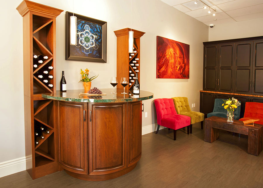 Armitage wine tasting room in aptos designed and built by for Built in wine bar cabinets