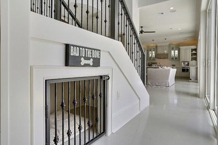 pet friendly remodel under stair dog crate